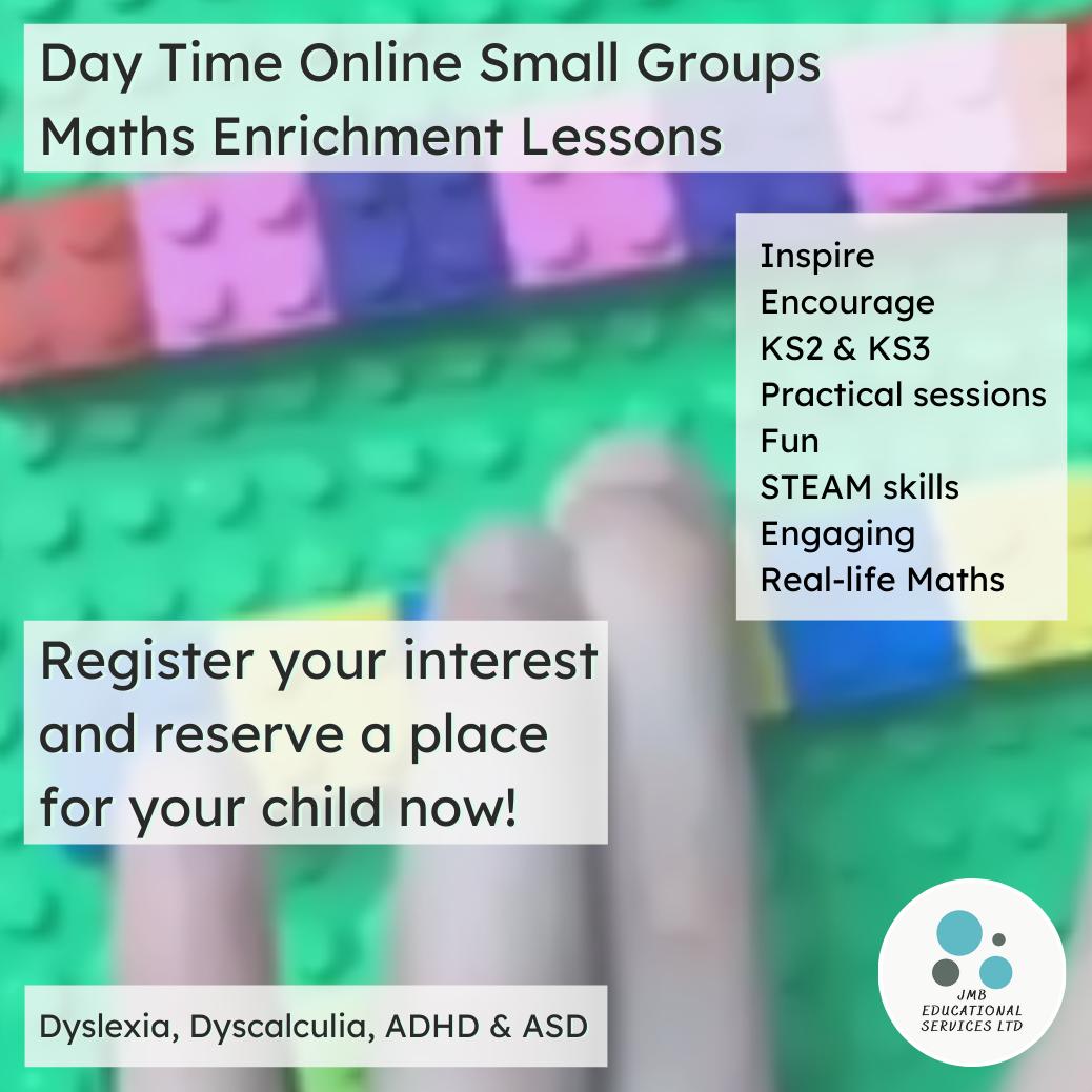 Maths enrichment lessons advert Group lessons