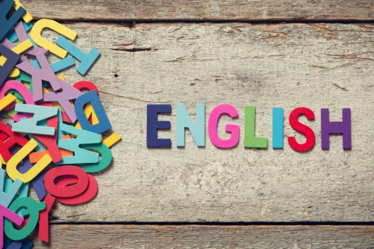 English written in coloured cut out letters English Tuition
